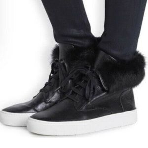Vince real rabbit fur suede sneakers